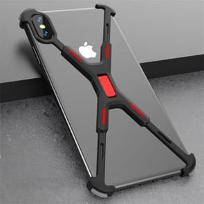 Shockproof Metal Bare Frame Protective Case for iPhone X / XS (Black Red)