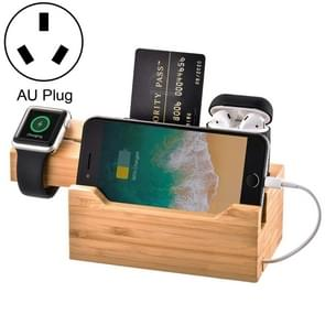 Multi-function Bamboo Charging Station Charger Stand Management Base with 3 USB Ports, For Apple Watch, AirPods, iPhone, AU Plug