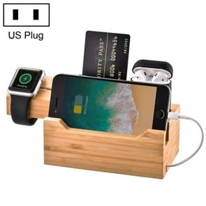 Multi-function Bamboo Charging Station Charger Stand Management Base with 3 USB Ports, For Apple Watch, AirPods, iPhone, US Plug