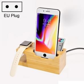 Multi-function Bamboo Charging Station Charger Stand Management Base with 3 USB Ports, For Apple Watch, iPhone, EU Plug