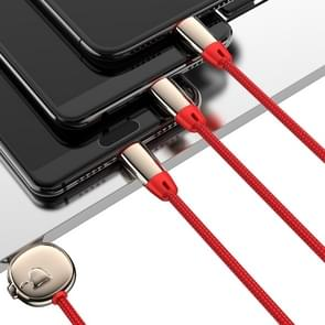 JOYROOM S-M390 Zodiac Series 3 In 1 3.5A USB-C / Type-C & 8 Pin & Micro to USB Braided Data Cable, Length: 1.2m (Red)