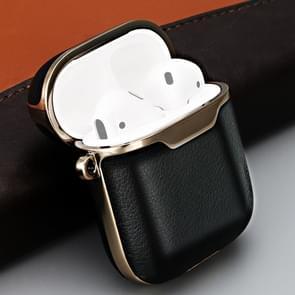 Volledige dekking oortelefoon beschermende lederen draagtas voor AirPods 1/2  met ring (zwart)