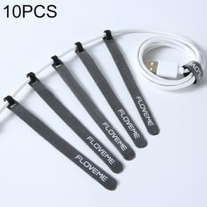 10 PCS FLOVEME Nylon Tie-wraps Hook and Loop Fastener Cable Ties for Data Cable & Earphone, Length: 14cm