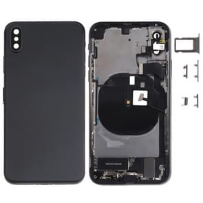 Battery Back Cover Assembly (met Side Keys & Loud Speaker & Motor & Camera Lens & Card Tray & Power Button + Volume Button + Oplaadpoort + Signal Flex Cable & Wireless Charging Module) voor iPhone XS(Zwart)