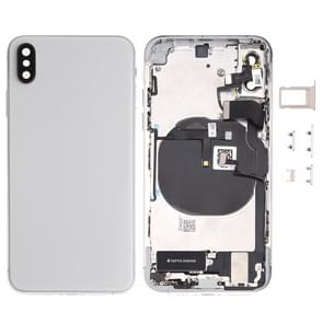 Battery Back Cover Assembly (with Side Keys & Loud Speaker & Motor & Camera Lens & Card Tray & Power Button + Volume Button + Charging Port + Signal Flex Cable & Wireless Charging Module) for iPhone XS(White)