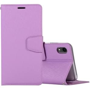 Silk Texture Horizontal Flip Leather Case for iPhone XR, with Holder & Card slots & Wallet & Photo Frame (Purple)
