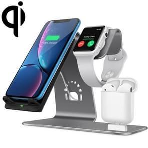 H05 QI standaard 3 in 1 multifunctionele draadloze snel opladen lader voor Apple & iWatch & luchtpods (grijs)