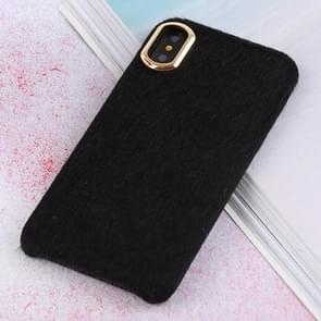 Plush Cloth Cover Protective Back Case for iPhone X / XS (Black)
