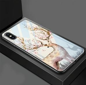 Flower Elk Pattern Glass Case for iPhone XS / X