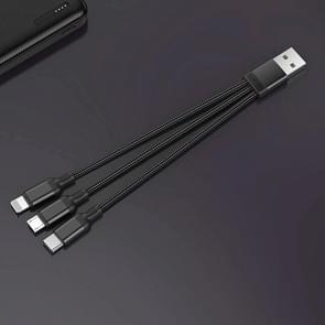 JOYROOM S-M416 Portable Series 3 in 1 3A USB-C / Type-C / 8 Pin / Micro USB to USB Short Weave Charging Cable, Length: 15cm(Black)