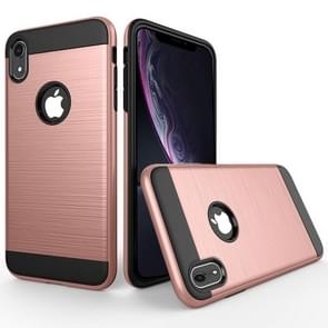 Brushed Texture Shockproof Rugged Armor Protective Case for  iPhone XR(Rose Gold)