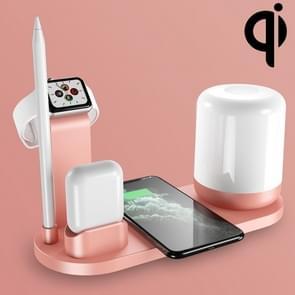 WS6 10W 2 USB-poorten + USB-C / Type-C-poort Multi-functie Bureaulamp + Qi draadloze oplaadlader (roze)