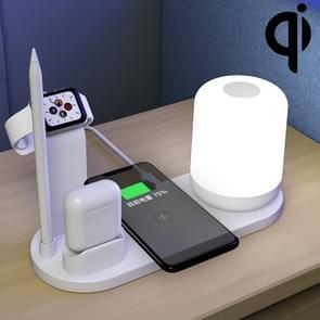WS6 10W 2 USB-poorten + USB-C / Type-C-poort Multi-functie Bureaulamp + Qi draadloze oplaadlader (wit)