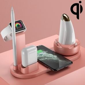 WS7 10W 2 USB-poorten + USB-C / Type-C-poort multifunctioneel bureaulamp + Qi draadloze oplaadlader (roze)