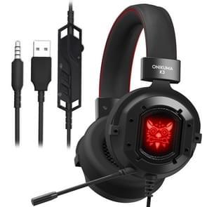 ONIKUMA K3 RGB Single Plug Light Adjustable PC Gaming Headphone with Microphone(Black Red)
