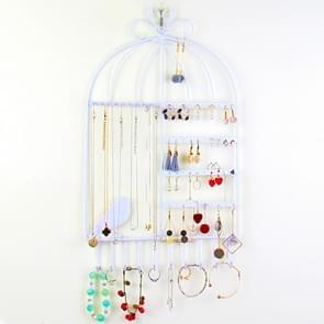 Birdcage Shape Ear Stud Earrings Bracelet Pendant Necklace Jewelry Display Storage Rack (White)