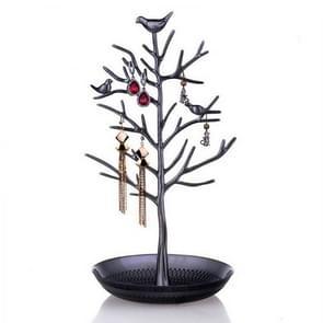 Birdie Tree Shape Ear Stud Earrings Bracelet Pendant Necklace Jewelry Display Storage Rack (Black)