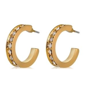 2 PCS Women Classic Style 18K Gold-Plated Diamond Cubic Zirconia Hoop Earrings(Gold)