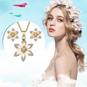 Diamond-shape Flower Bridal Necklace Earrings Three-piece(Gold)