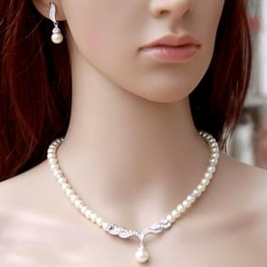 3 in 1 Bridal Accessories Lady Classic Fashion Bead Earring Necklace Jewelry Set