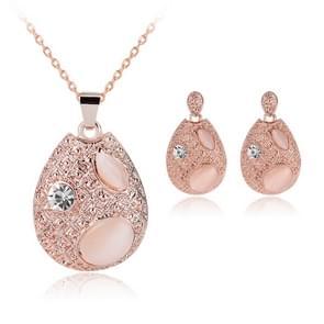 3 in 1 Women Fashion Beautiful Diamond-shape Droplet Type Necklace Earrings Jewelry Set