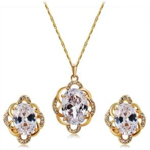 Flower Style Gold-Plated Crystal Pendant Necklace Earring Set for Women, Chain Length: 47.5cm