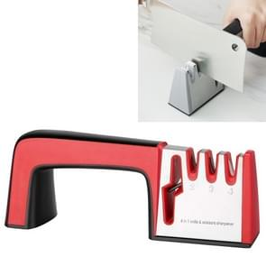 4 in 1 RvS Mes slijper vier sectie hand-held Quick Sharpening Tool met antislip handvat (Rood)