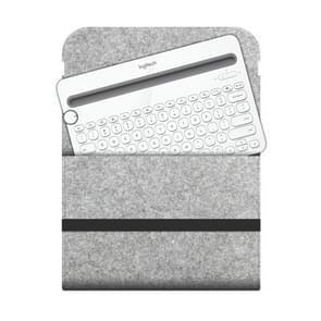 Portable Felt Wireless Bluetooth Keyboard Storage Bag Dust-proof Bag for Logitech K480 Keyboard, with Magic Stick(Light Grey)