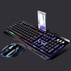 Chasing Leopard G700 USB RGB backlight bekabelde optische gaming muis en Keyboard Set  toetsenbord kabel lengte: 1.35 m  muiskabel lengte: 1.3 m (zwart)