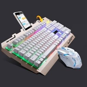 Chasing Leopard G700 USB RGB backlight bekabelde optische gaming muis en Keyboard Set  toetsenbord kabel lengte: 1.35 m  muiskabel lengte: 1.3 m (wit)