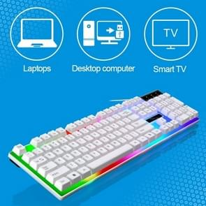 ZGB G21 104 Keys USB Wired Mechanical Colorful Backlight Office Computer Keyboard Gaming Keyboard(White)