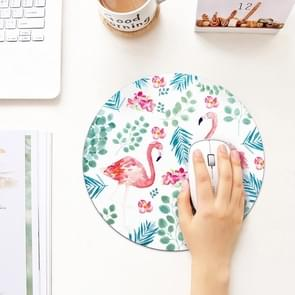 Printed Flamingo Pattern Circular Mouse Pad, Diameter: 22cm