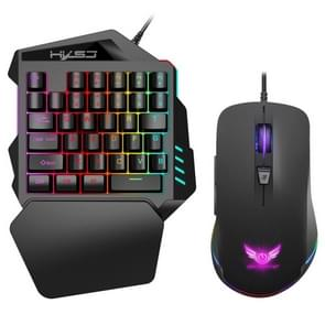 HXSJ V100+S600 Wired Mobile Game One-handed Keyboard Mouse Set