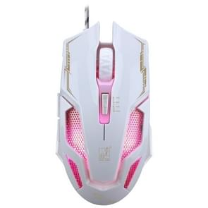 ZGB V10 USB 6-Keys 2.400 dpi vier-snelheid verstelbare backlight bedrade optische gaming muis  lengte: 1 8 m (wit)