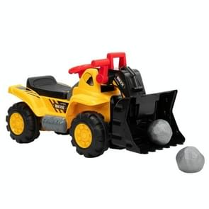 [Amerikaans pakhuis] LEADZM Ride On Bulldozer Outdoor Digger Scooper Pulling Cart Ride On Car with Two Plastic Simulation Stones & Safety Helmet(Yellow)