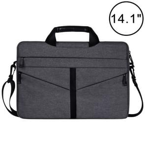 14.1 inch Breathable Wear-resistant Fashion Business Shoulder Handheld Zipper Laptop Bag with Shoulder Strap (Dark Gray)