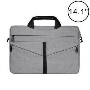 14.1 inch Breathable Wear-resistant Fashion Business Shoulder Handheld Zipper Laptop Bag with Shoulder Strap (Light Grey)