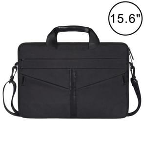 15.6 inch Breathable Wear-resistant Fashion Business Shoulder Handheld Zipper Laptop Bag with Shoulder Strap (Black)