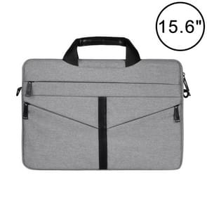 15.6 inch Breathable Wear-resistant Fashion Business Shoulder Handheld Zipper Laptop Bag with Shoulder Strap (Light Grey)