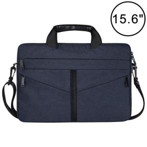 15.6 inch Breathable Wear-resistant Fashion Business Shoulder Handheld Zipper Laptop Bag with Shoulder Strap (Navy Blue)