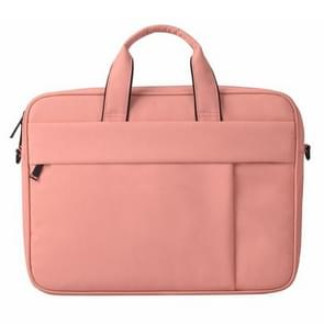 DJ03 Waterproof Anti-scratch Anti-theft One-shoulder Handbag for 14.1 inch Laptops, with Suitcase Belt(Pink)