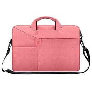 ST02S Waterproof Tear Resistance Hidden Portable Strap One-shoulder Handbag for 14.1 inch Laptops, with Suitcase Belt(Pink)