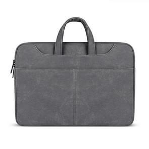 ST06S Waterproof PU Leather Zipper Hidden Portable Strap One-shoulder Handbag for 14.1 inch Laptops, with Magic Stick & Suitcase Belt(Dark Gray)