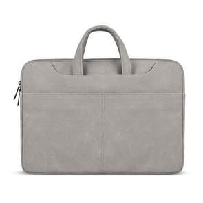 ST06S Waterproof PU Leather Zipper Hidden Portable Strap One-shoulder Handbag for 14.1 inch Laptops, with Magic Stick & Suitcase Belt (Light Grey)