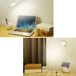 TGX-772 3-grade Brightness Touch Dimmer LED Desk Lamp, 28 LEDs Flexible Goose Neck Hollow Ring Design Eye Protection Light with Pen Holder / Small Night Light Function