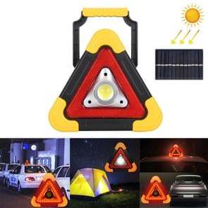 HB-6609R 10W Multi-function Portable Triangle Shape Solar Powered COB LED Work Light, 500 LM Outdoor Emergency Warning Light with Holder & Solar Panel for Mountaineering, Mined Underground, Fishing, Repair(White Light)