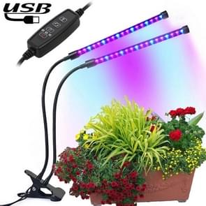 18W Dual Heads USB Clip Timing LED Growth Light, SMD 5730 Blue 460NM + 630NM Red Full Spectrum Plant Lamp, DC 5V
