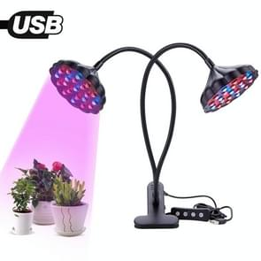 20W Daul Lotus Heads Adjustable Spectrum Timing LED Lamp for Plant Growth Lighting (Black)
