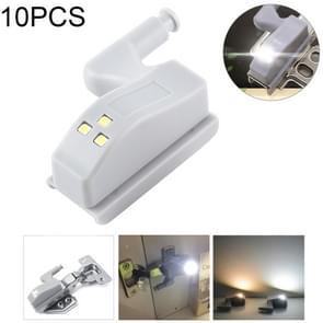 10 stuks 0.3W universele innerlijke scharnier LED Sensor lamp kast 3 LEDs nachtlampje Auto on/off Bulb(White Light)