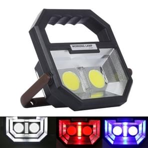 White + Red & Blue Warning Light COB LED Camping Tent Light, Multi-function Outdoor Portable Emergency Flashlight Lamp with Handle & Holder & USB Output Port